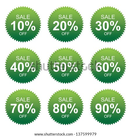 Green Sale 10 - 90 Percent OFF Discount Label Tag Isolated on White Background - stock photo