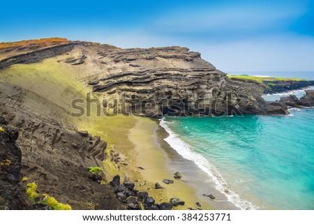 Green Sand Beach, Big Island, Hawaii - stock photo