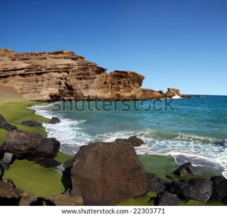 Green sand beach on Big island, Hawaii - stock photo