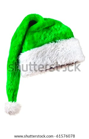 Green Santa Claus Hat. Isolated on white. - stock photo