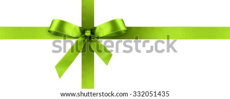 Green Satin Gift Ribbon with Decorative Bow - Horizontal Panorama Banner - Christmas, Easter, Birthday and Valentine Decor - Isolated on White Background - For Gift Coupon, Gift Certificate and Bonus - stock photo