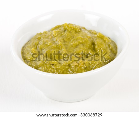 Green Sauce Dip - Bowl of dipping sauce made with coriander, mint and spices. Shot from above on a white background.