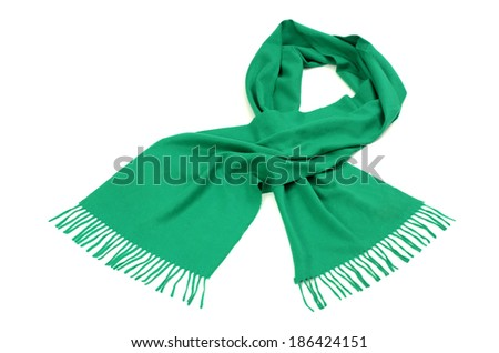Green scarf with fringe for winter. Green scarf isolated on white background. - stock photo