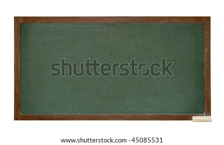 Green school blackboard isolated on white background