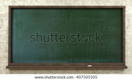Green school board chalk hanging on the wall,the 3D illustration