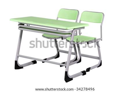green school desk on white background - stock photo