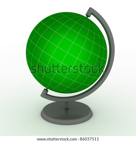 green school globe with fine hite lines for meridian and latitude - stock photo
