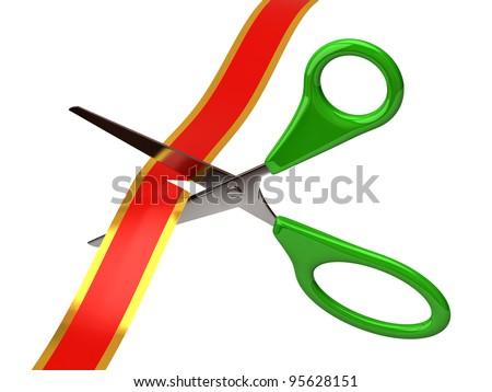Green scissors cutting red ribbon - stock photo