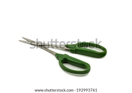 Green scissors isolated on white background