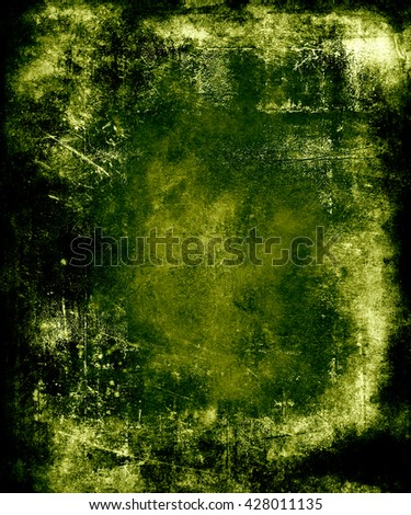 Green Scratched Grunge Abstract Texture Background. Scary halloween poster with faded central area for your text or picture