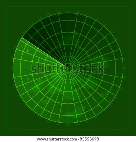 green screen of radar with airplanes - stock photo