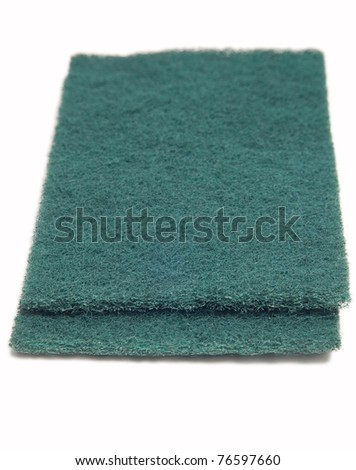 Green scrub sponges isolated on white - stock photo