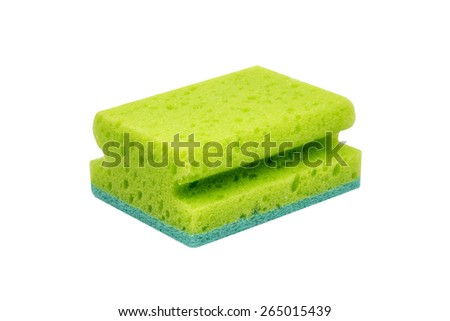 Green scrubbing sponge, washing sponge isolated on white with clipping path - stock photo