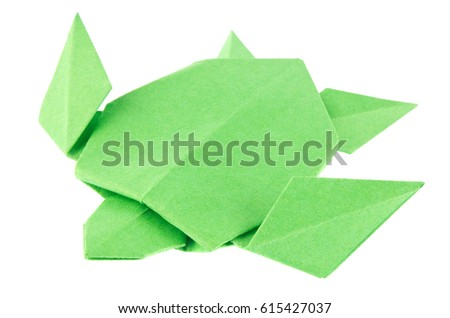 Green Sea Turtle Origami Isolated On Stock Photo Royalty Free