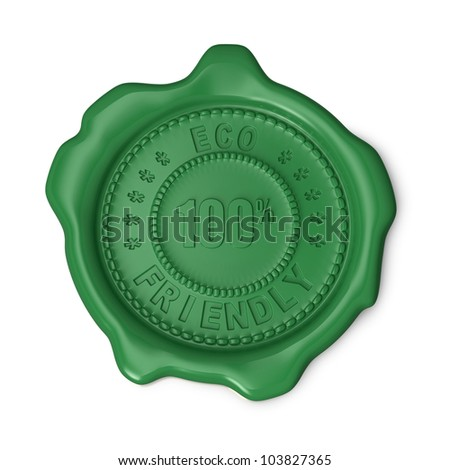 Green seal of approval 100% eco friendly on white background - stock photo