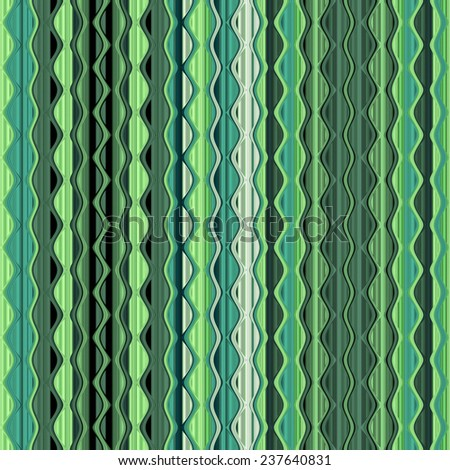 green seamless geometric pattern with dots, lines and waves - stock photo
