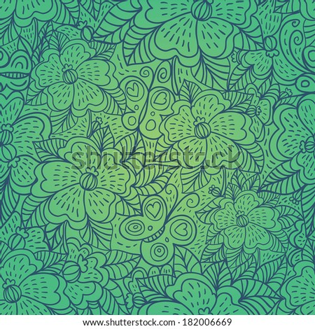 Green seamless pattern with outline flowers and butterflies contour. Raster version. - stock photo