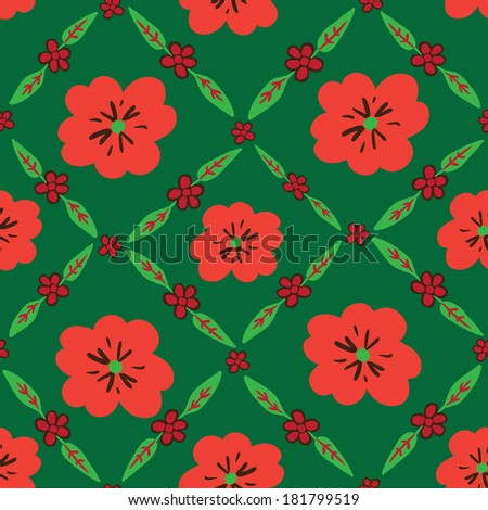 Green seamless pattern with red flowers. Raster version.