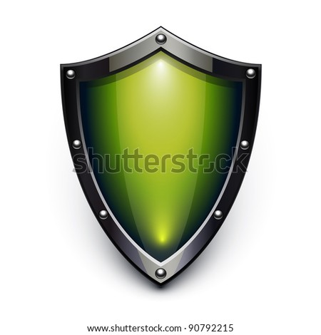 Green security shield - stock photo