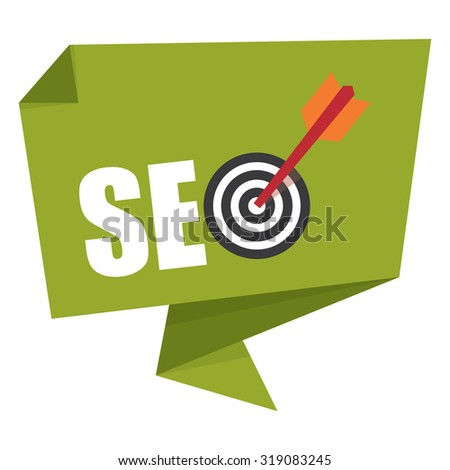 Green SEO With Dart Hitting a Target Bullseye Paper Origami Speech Bubble or Speech Balloon Infographics Sticker, Label, Sign or Icon Isolated on White Background