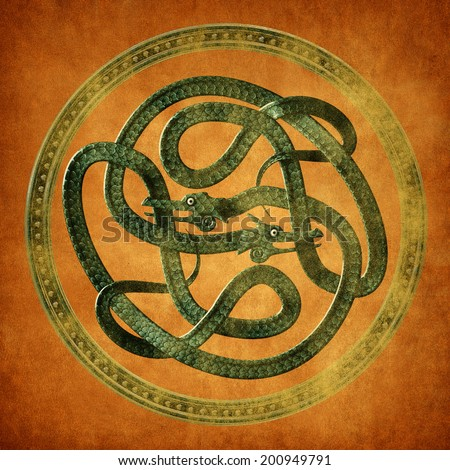 Green Serpent Celtic Knot on an old parchment document - stock photo