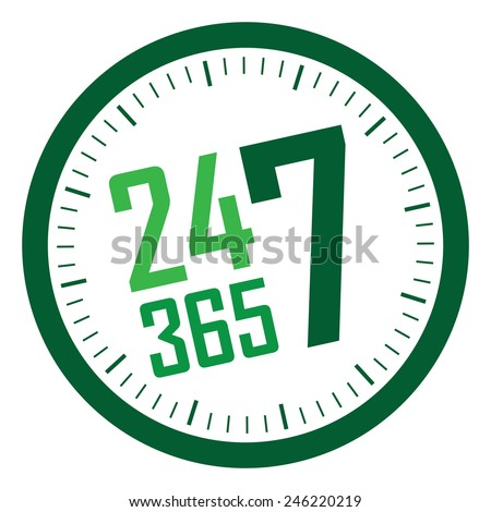 green 24 7 365 service is available year-round sticker, badge, icon, stamp, label, banner, sign  isolated on white  - stock photo