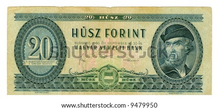 Green, shabby Hungarian banknote at 20 forints, 1980 year; close-up