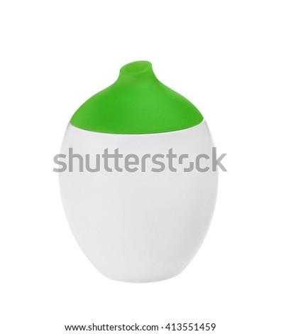 Green shampoo bottle. Isolated on white background - stock photo