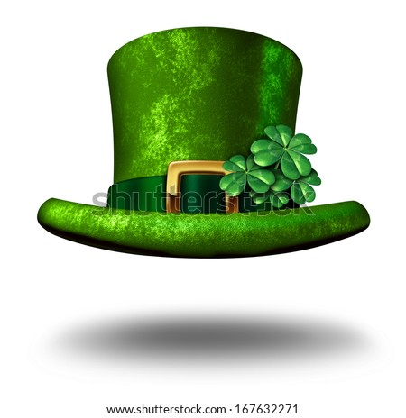 Green shamrock lucky top hat as a St Patricks day symbol and luck icon of Irish tradition celebration with magical four leaf clover decoration on a leprechaun cap floating in the air on white. - stock photo