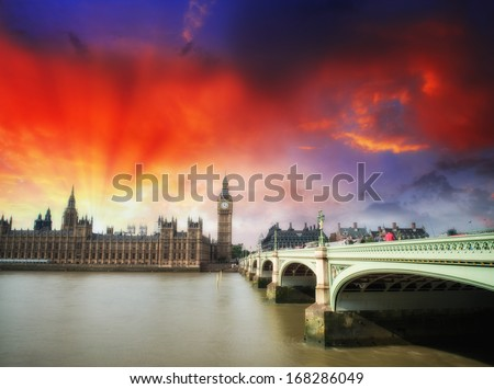 Green shapes of Westminster Bridge at sunset. Double Decker Bus crossing. - stock photo