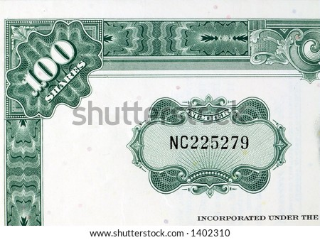 Green shares - stock certificate. Green share certificate of an American company - decorative, old document. - stock photo