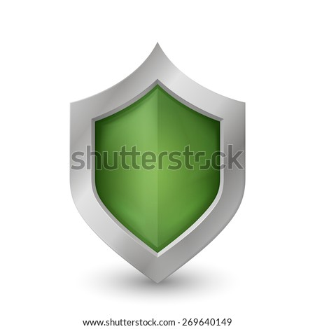 Green Shield. Isolated on a white background. The glossy surface. Software protection. Environmental protection. Detailed illustration in perspective. Raster copy. - stock photo
