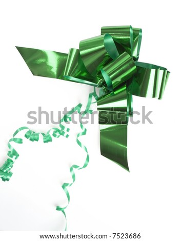 green shiny bow isolated on white