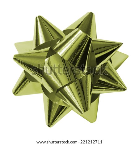 green shiny gift bow isolated on the white - stock photo