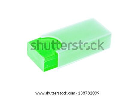 green shool eraser - stock photo