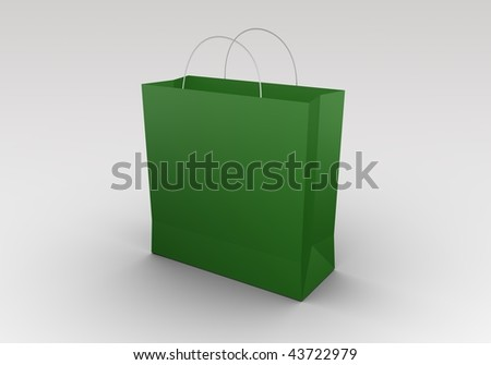 Green shopping bag. High quality 3D rendered image.