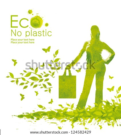 Green shopping bag. Illustration environmentally friendly planet.A person with eco bag instead of a plastic package from watercolor stains.Think Green. No plastic. Ecology Concept. - stock photo