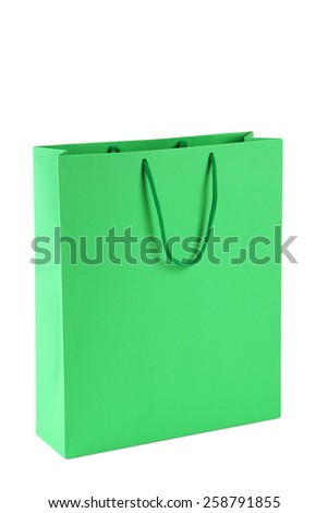 Green shopping bag isolated on white - stock photo