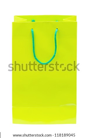 Green shopping bag isolated on white background