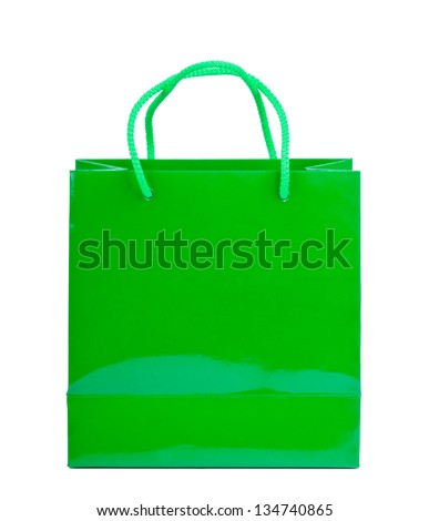 Green shopping bag on a white background. - stock photo