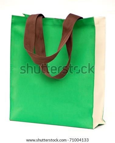 green shopping bag on white isolated background. - stock photo