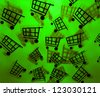 Green Shopping Cart Background - stock photo