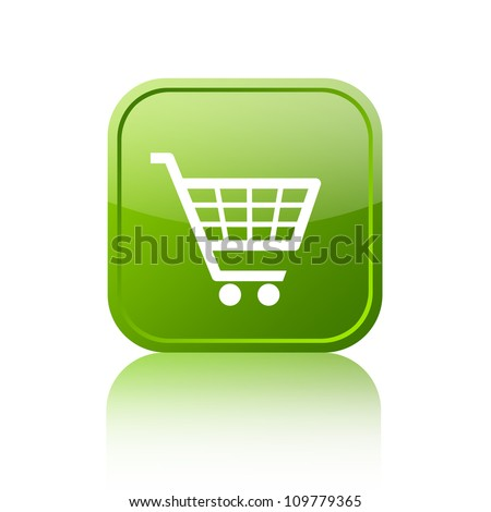 Green shopping cart button - stock photo
