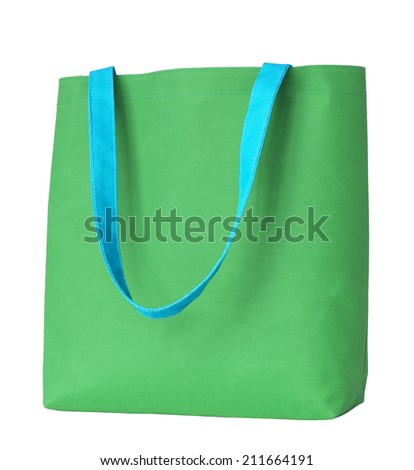 Green shopping fabric bag isolated on white background with clipping path - stock photo