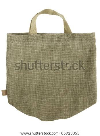 green shopping fabric bag on white isolated background - stock photo