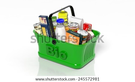 Green shopping hand basket with organic groceries isolated on white - stock photo
