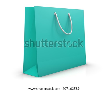 green shopping paper bag isolated on white background, illustration. 3d rendering