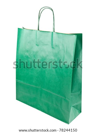green shopping paper bag over white background
