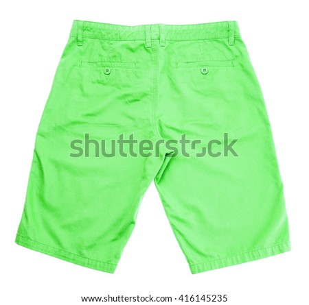 green shorts on white background