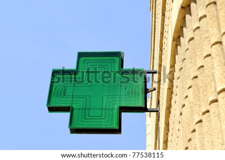 Green sign at pharmacy against clear blue sky